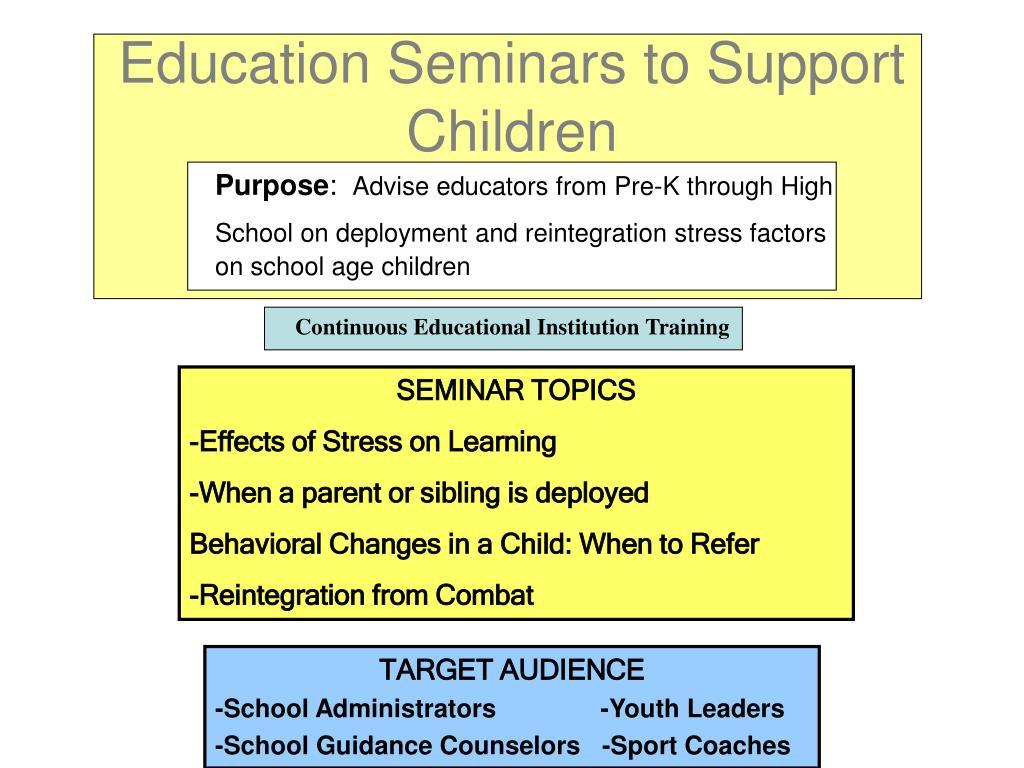 Education Seminars to Support Children