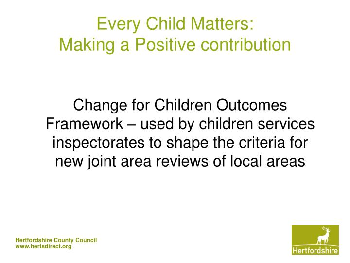 Every child matters making a positive contribution