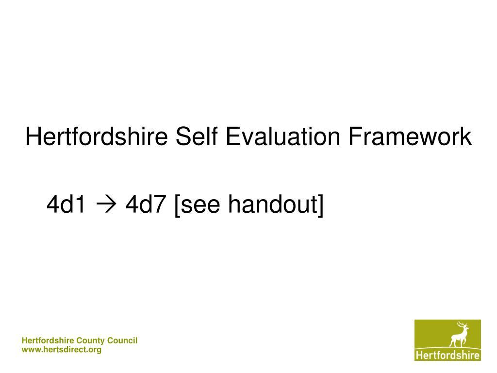 Hertfordshire Self Evaluation Framework