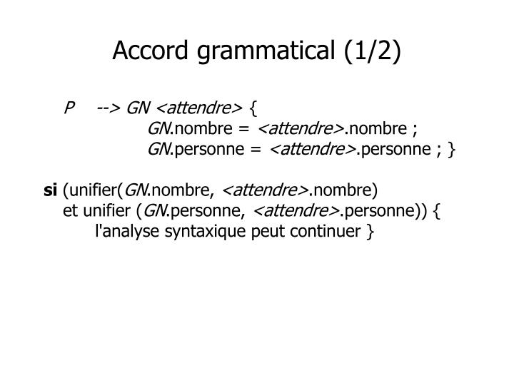 Accord grammatical (1/2)