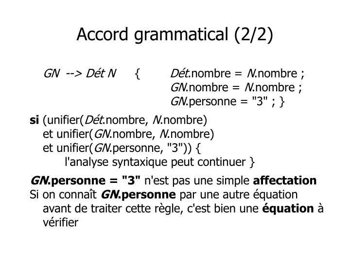 Accord grammatical (2/2)