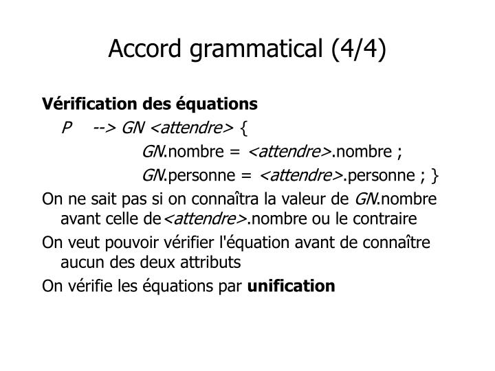 Accord grammatical (4/4)