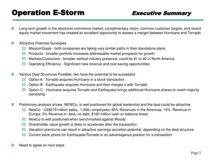 Operation e storm executive summary