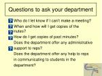 questions to ask your department11