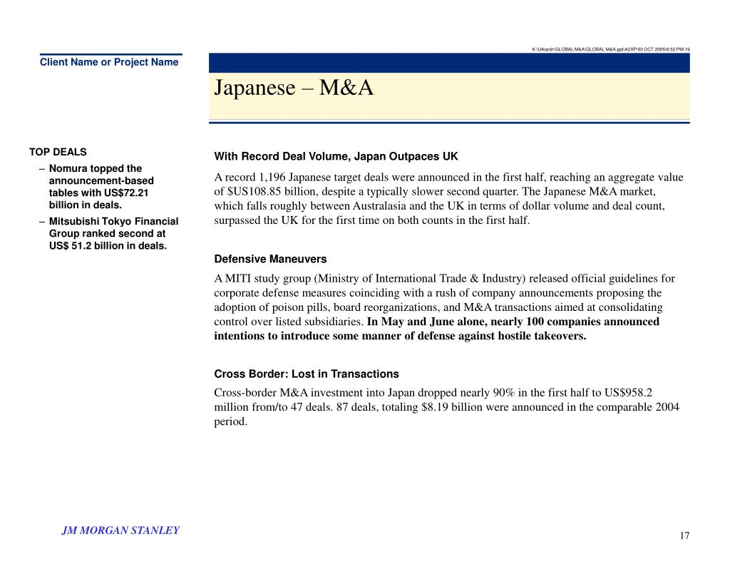 K:\Utkarsh\GLOBAL M&A\GLOBAL M&A.ppt\A2XP\03 OCT 2005\6:52 PM\19