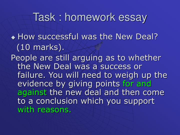 essay on the new deal was a success Whether the new deal was a success or not, depends on the definition of success did the new deal eliminate unemployment and turn america around the new deal became a model of how a democratic government ought to behave - arguably influenced the british welfare state of 1948.