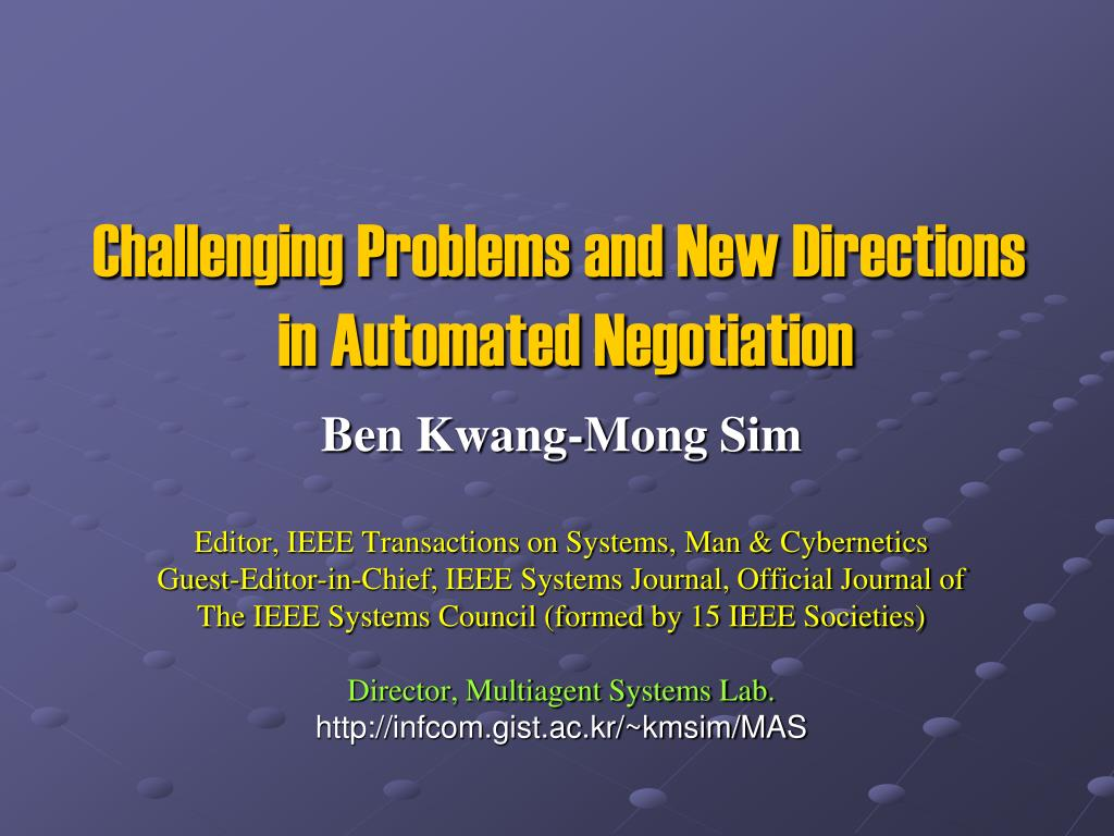 challenging problems and new directions in automated negotiation l.