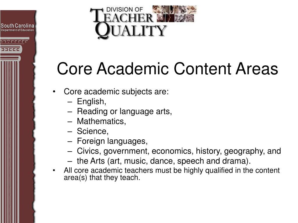 Core Academic Content Areas