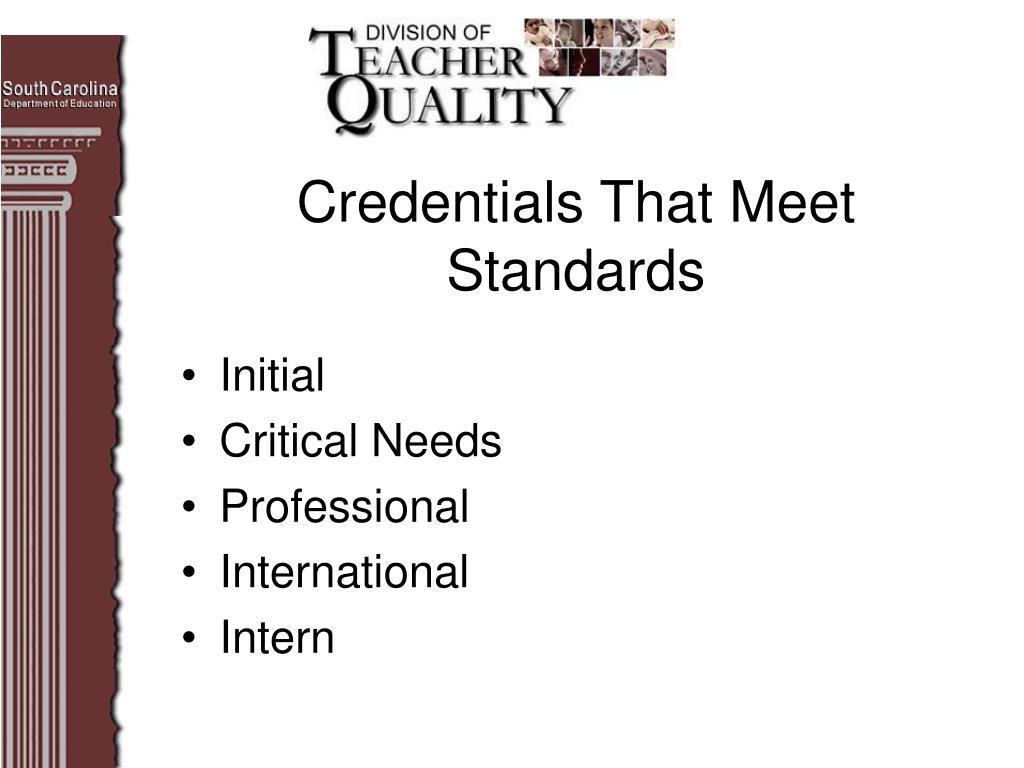 Credentials That Meet Standards