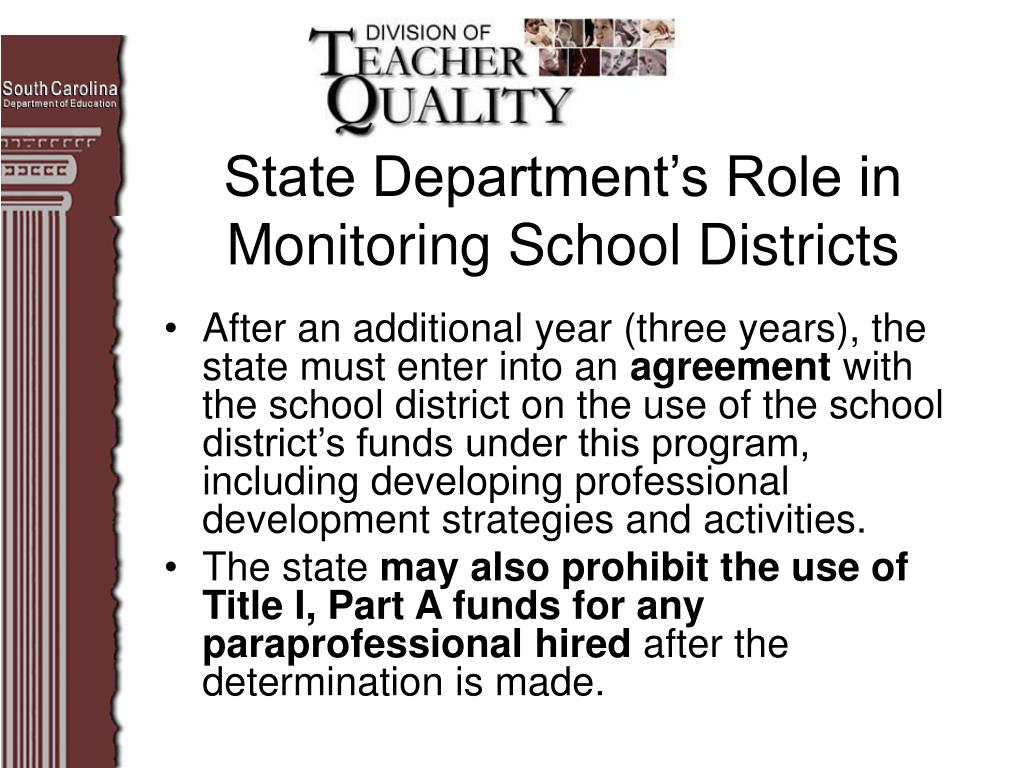 State Department's Role in Monitoring School Districts