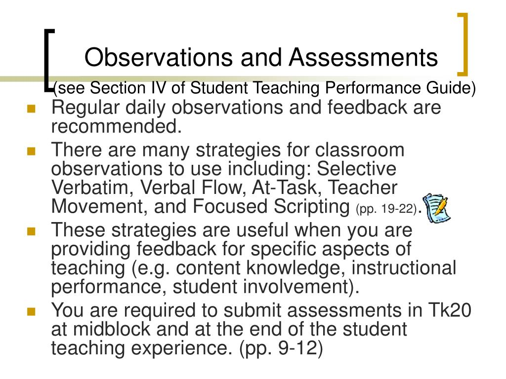 Observations and Assessments