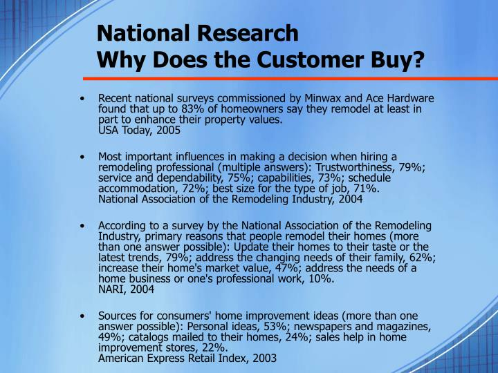 National research why does the customer buy
