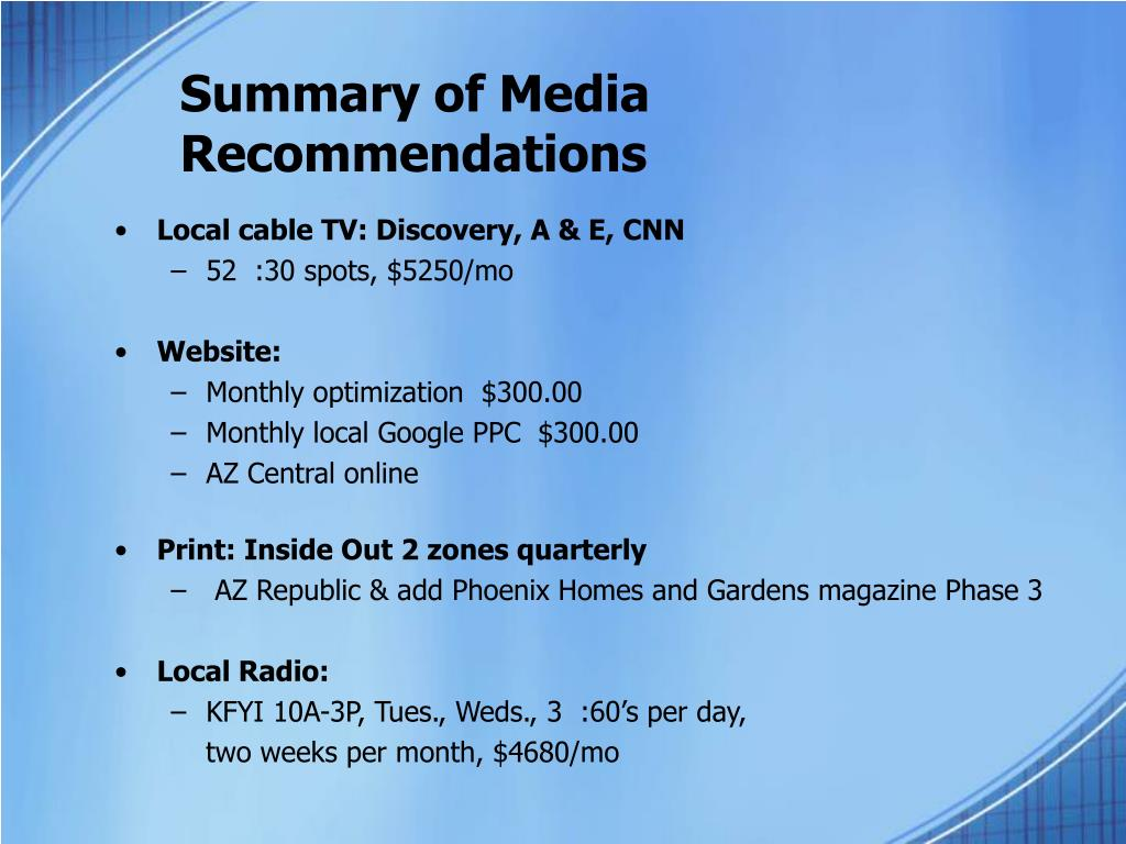 Summary of Media Recommendations