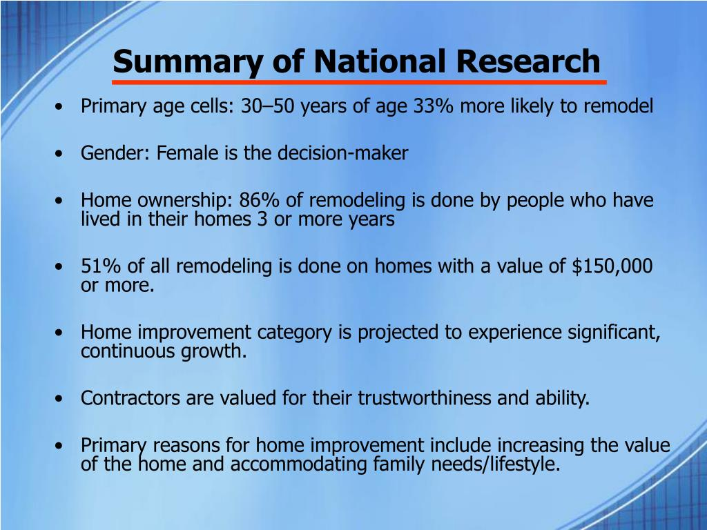 Summary of National Research