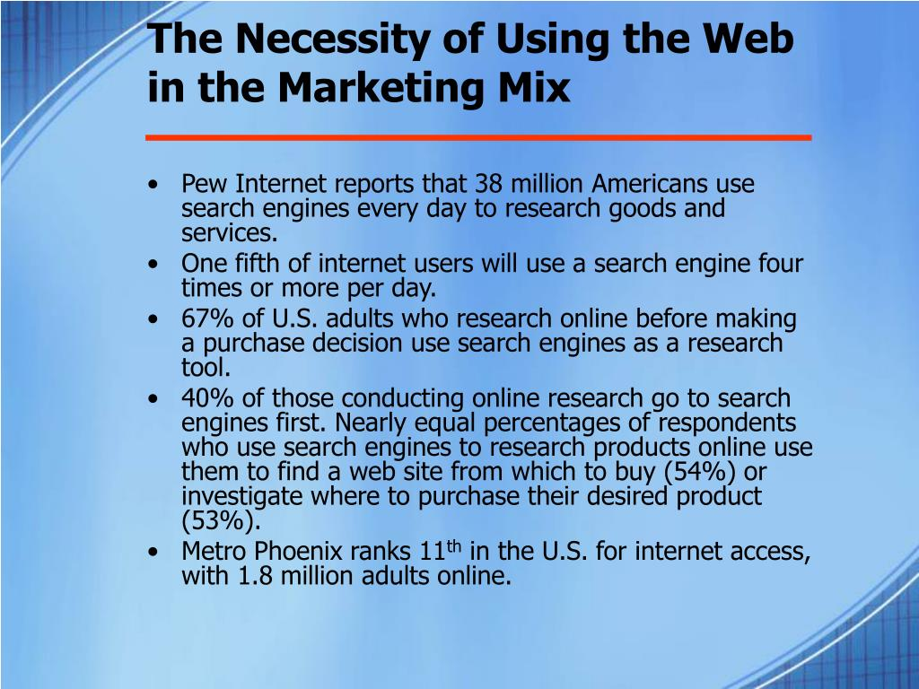 The Necessity of Using the Web in the Marketing Mix