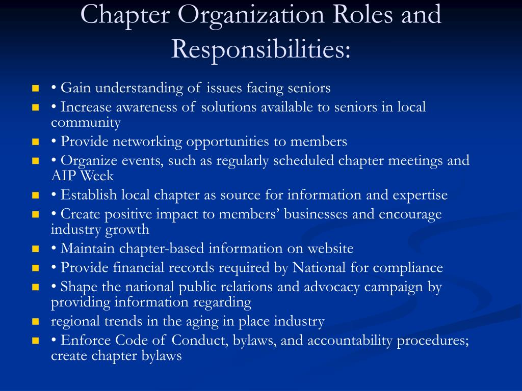 Chapter Organization Roles and Responsibilities: