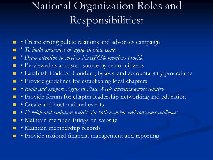National organization roles and responsibilities