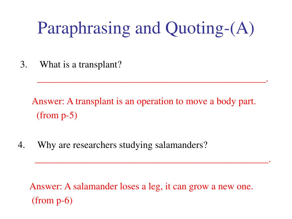 Paraphrasing and Quoting-(A)