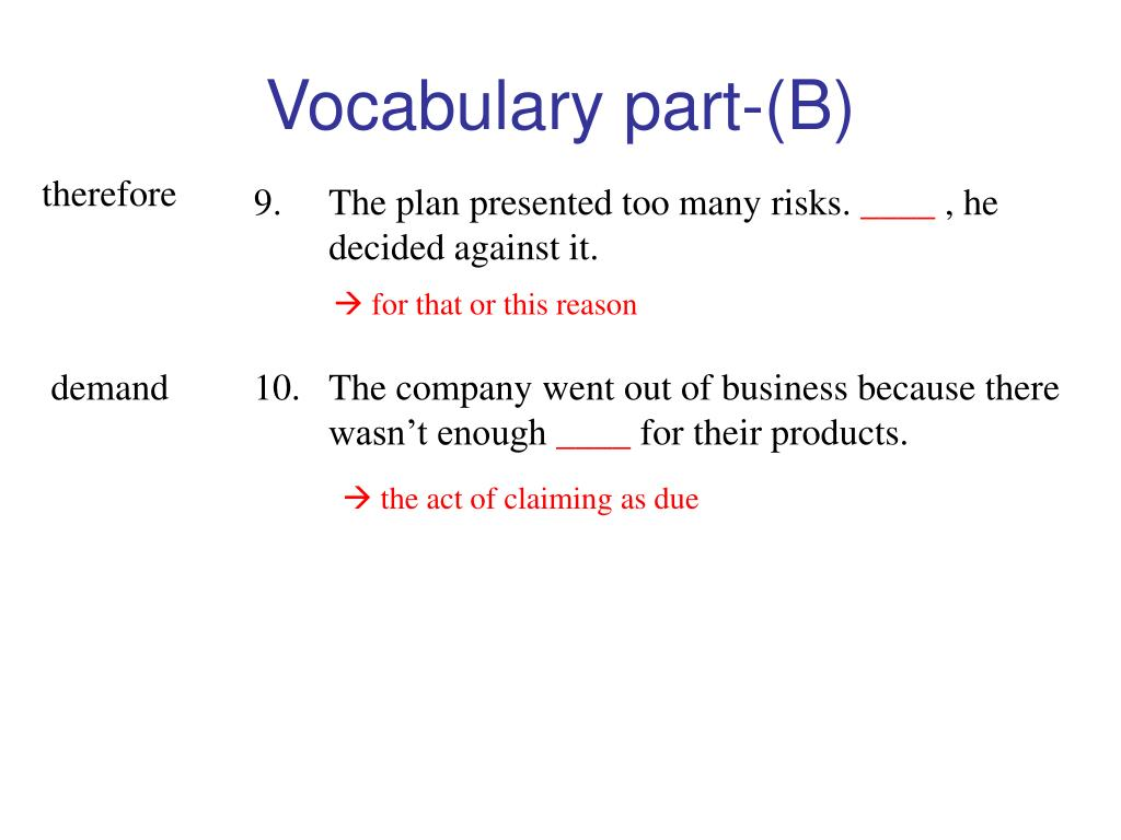 Vocabulary part-(B)