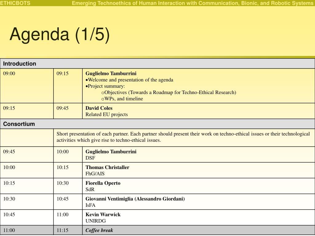 Agenda (1/5)