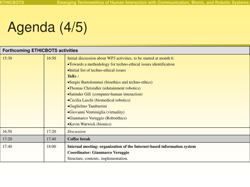 Agenda (4/5)