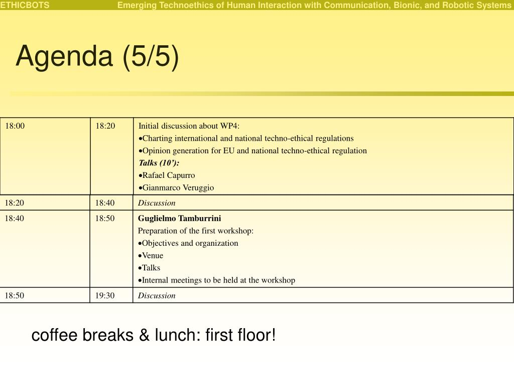 Agenda (5/5)