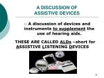a discussion of assistive devices