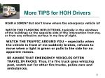 more tips for hoh drivers