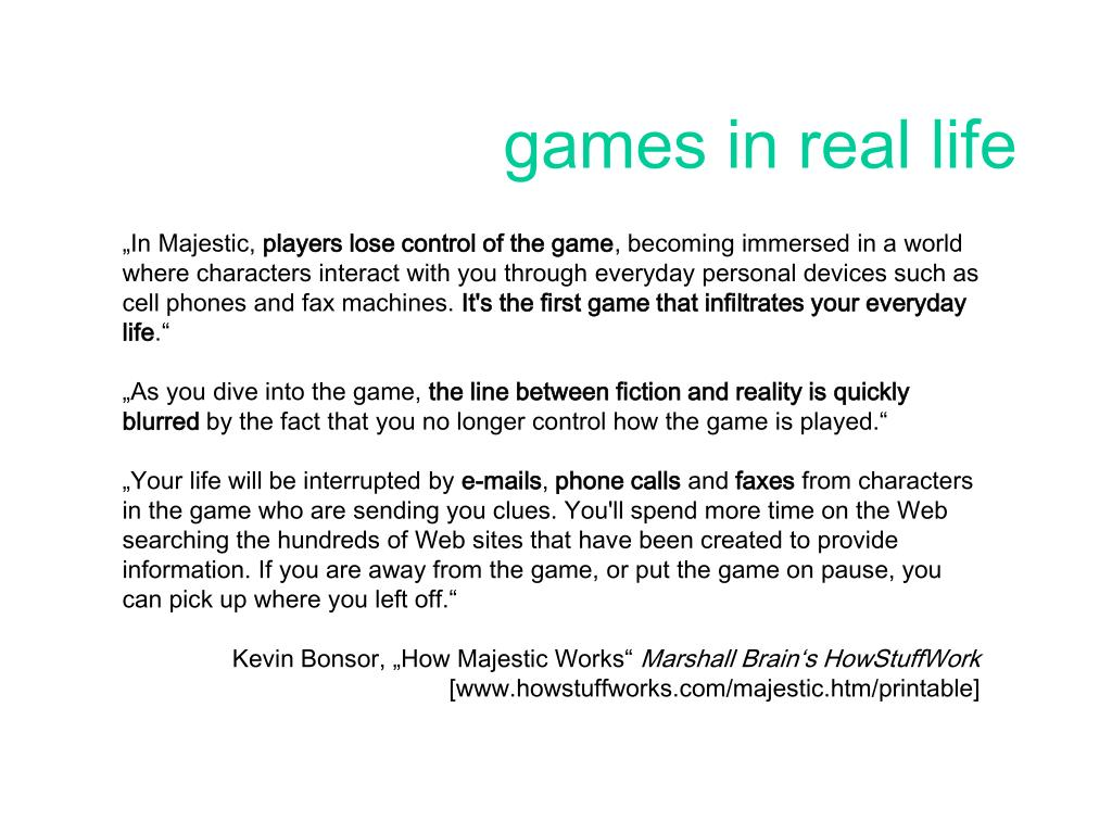 games in real life