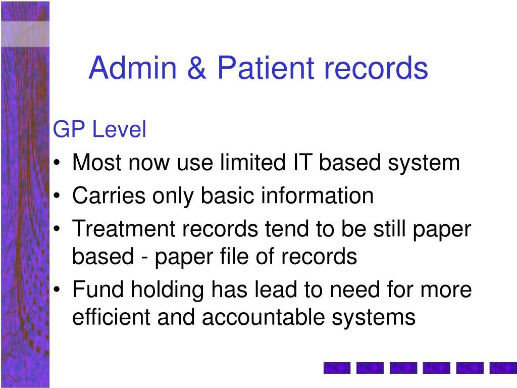 Admin & Patient records