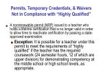 permits temporary credentials waivers not in compliance with highly qualified31