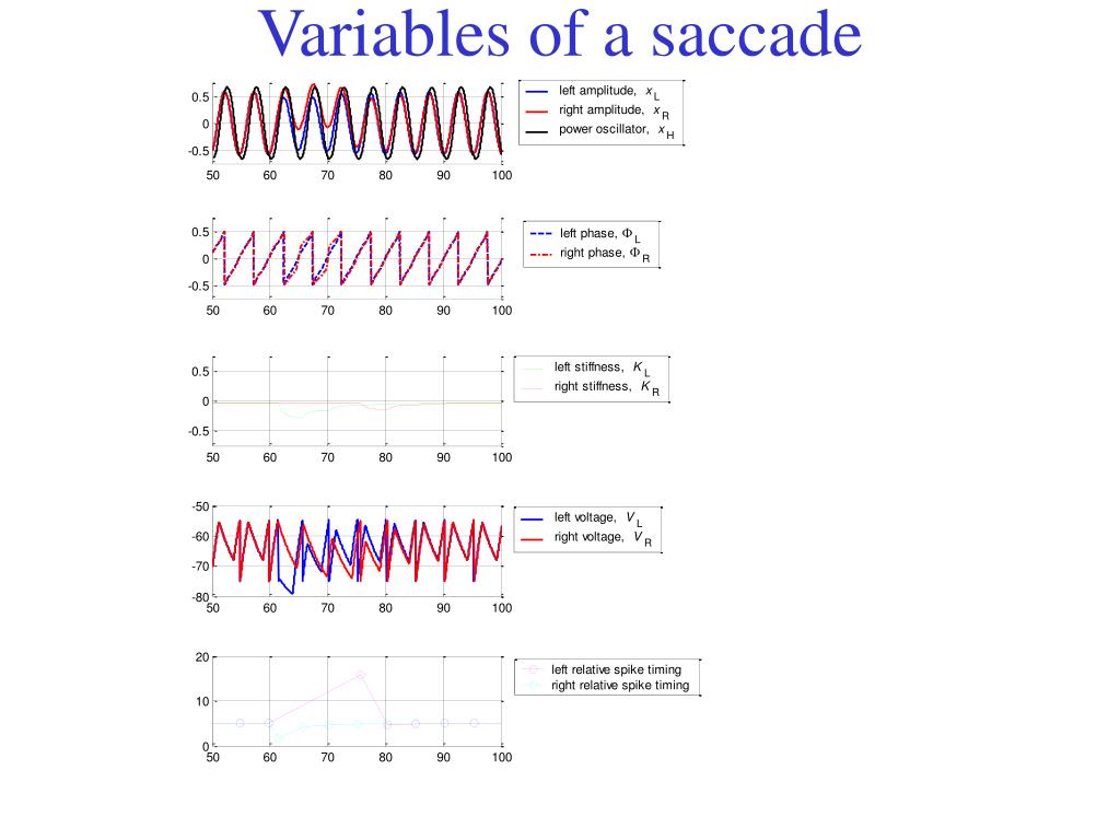 Variables of a saccade