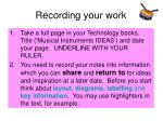recording your work