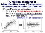 4 musical instrument identification using f0 dependent multivariate normal distribution12