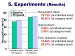 5 experiments results