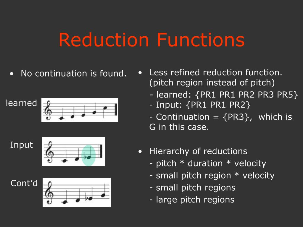 Less refined reduction function.  (pitch region instead of pitch)