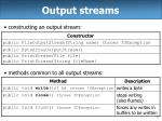 output streams