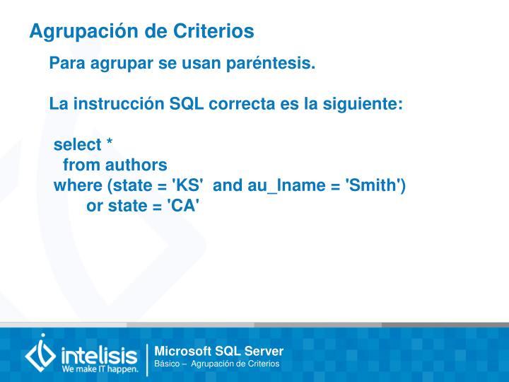 Agrupación de Criterios