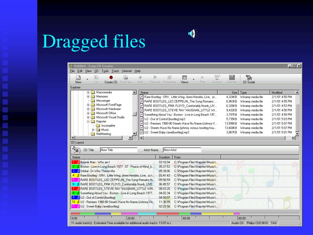 Dragged files