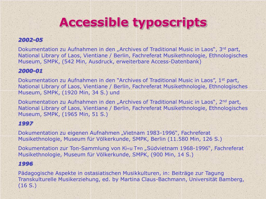Accessible typoscripts