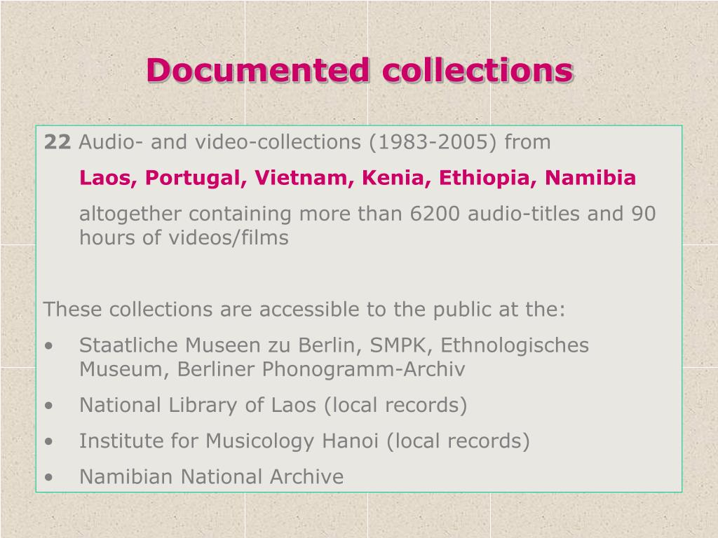 Documented collections