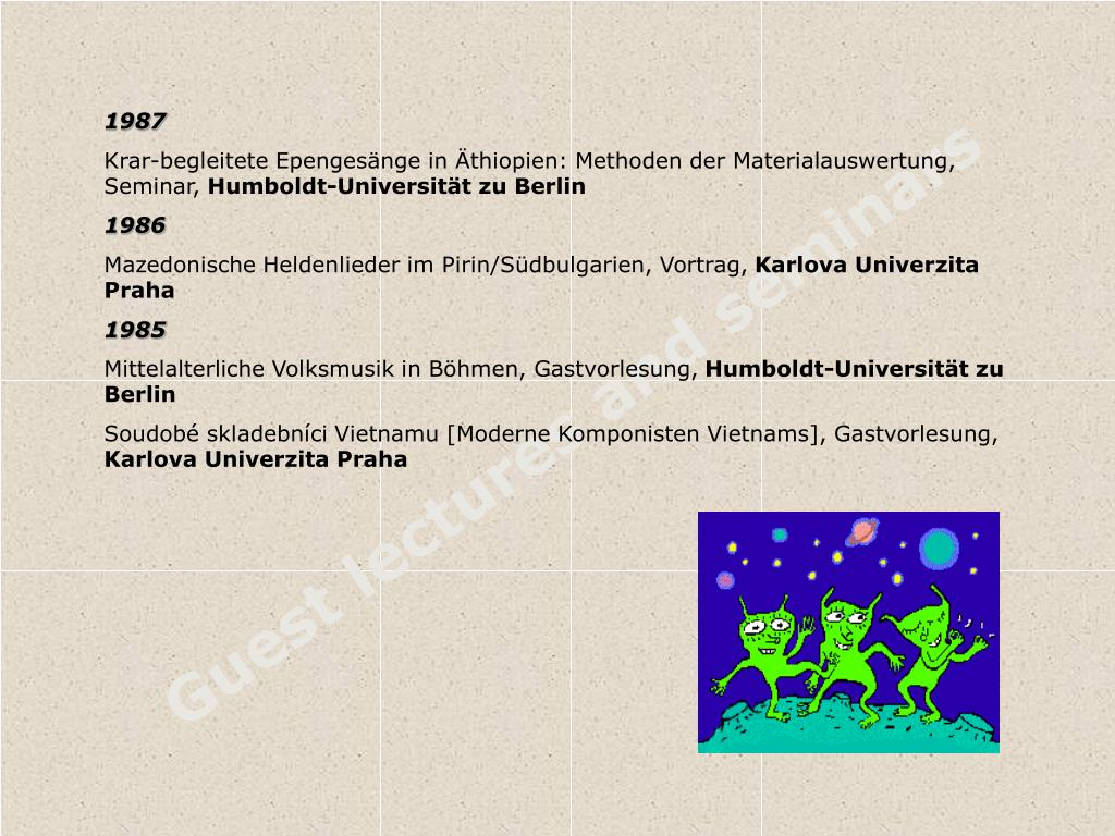 Guest lectures and seminars
