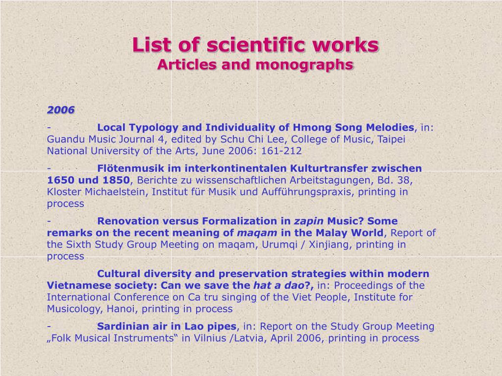 List of scientific works
