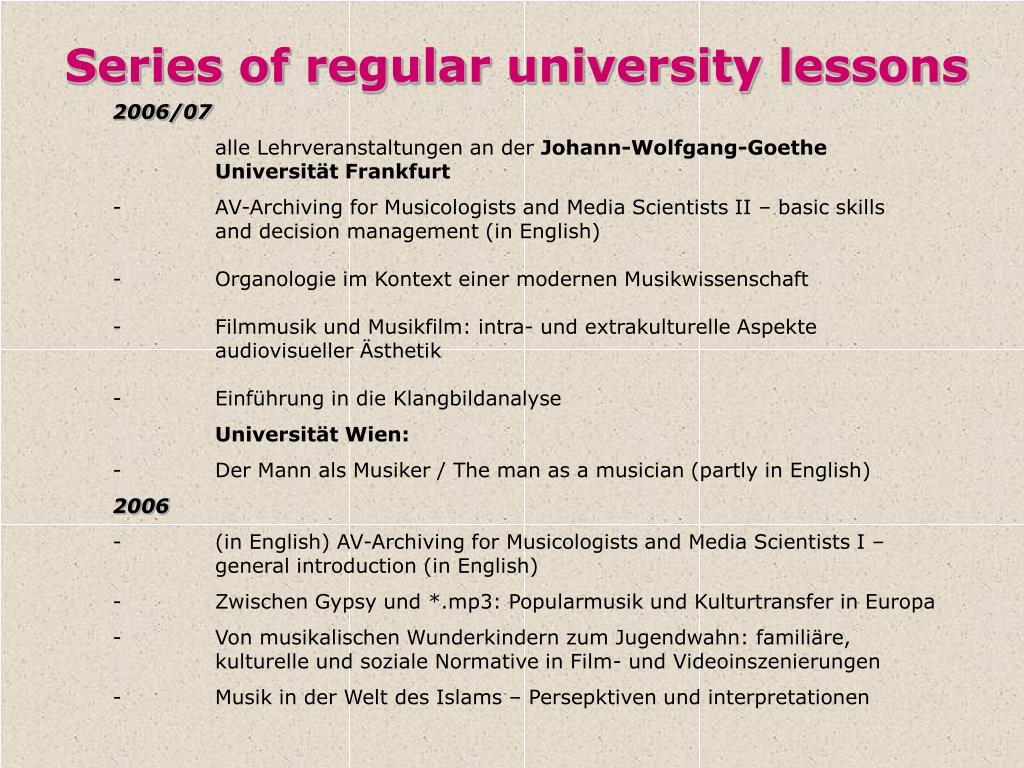 Series of regular university lessons