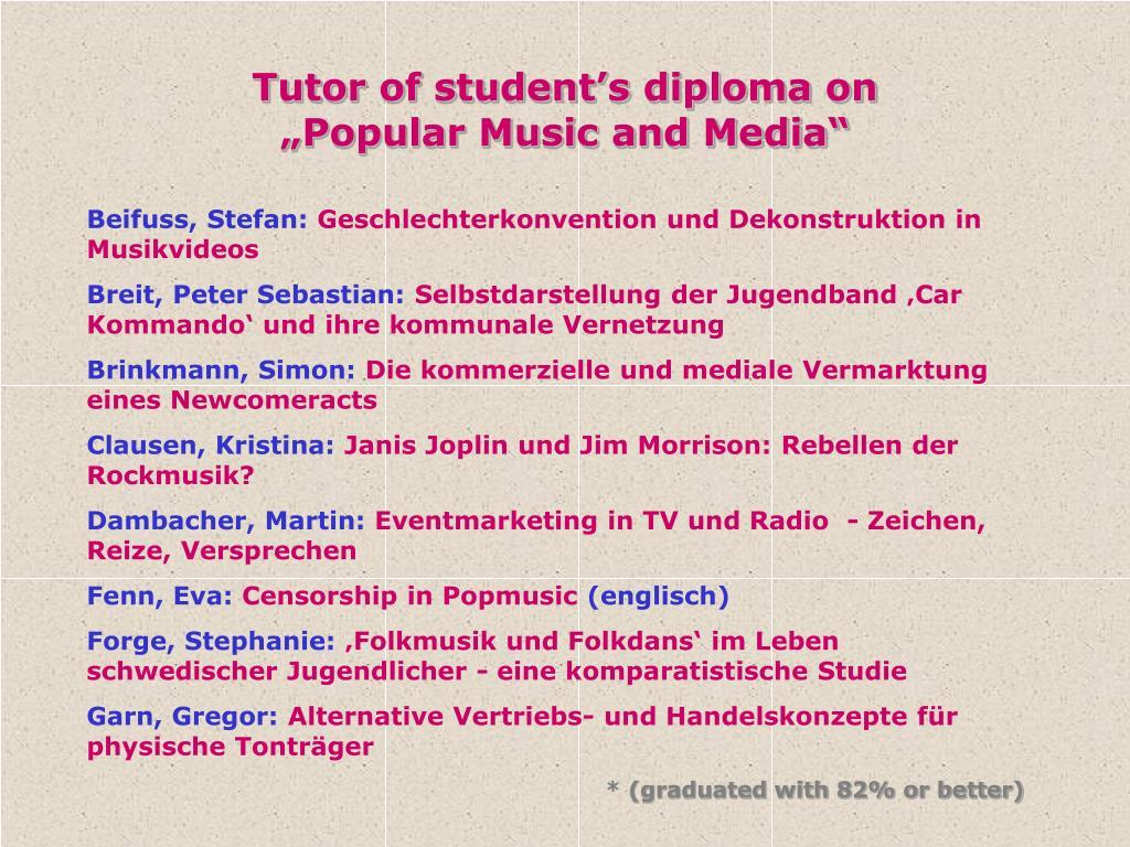 Tutor of student's diploma on