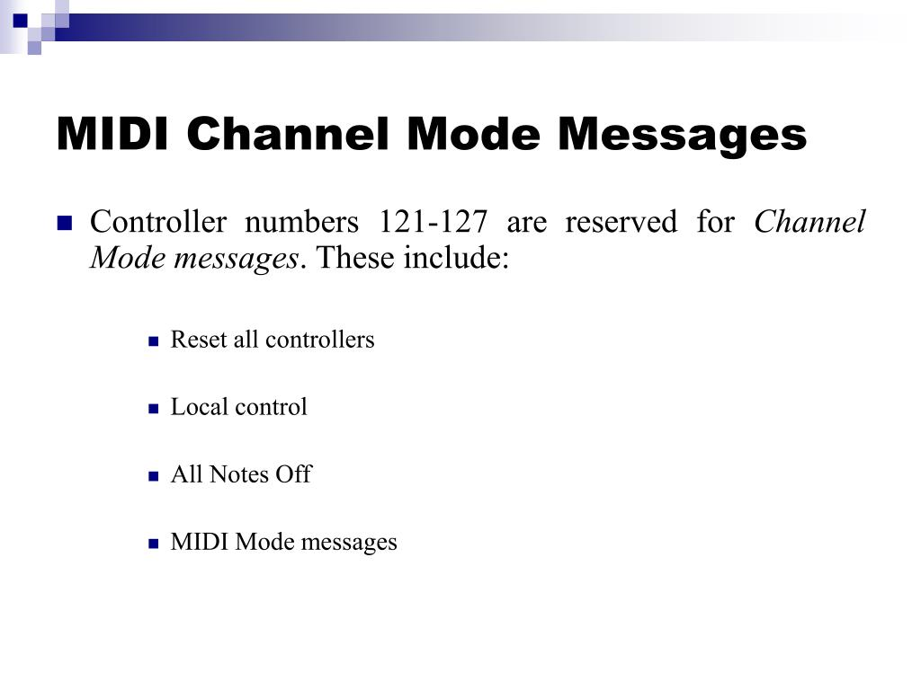 MIDI Channel Mode Messages