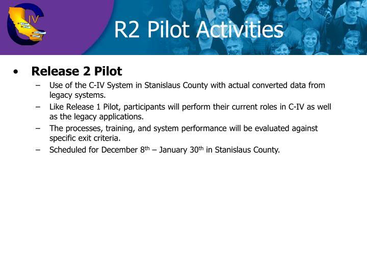 R2 Pilot Activities