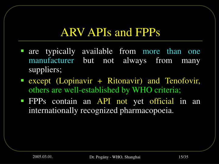 ARV APIs and FPPs
