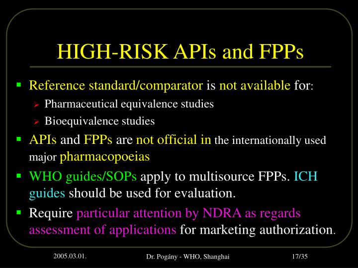HIGH-RISK APIs and FPPs