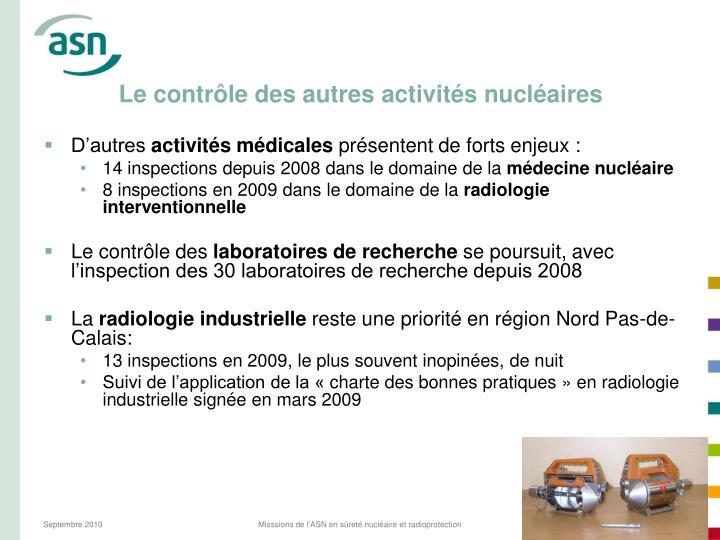 Le contrôle des autres activités nucléaires